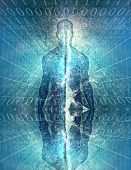 Mysterious figure or spirit with binary code. 3D rendering poster