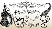 Abstract Sheet Music Design Elements Depicting Music Staves With Treble Clefs, Notes, Clef Signs poster