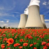 stock photo of radioactive  - Nuclear power plant Temelin in Czech Republic Europe - JPG