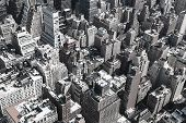 image of cabs  - Black and white image of rooftops of Manhattan in New York City - JPG