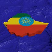 Ethiopia map flag in abstract ocean illustration