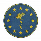 European Union Faroe Islands button isolated on white background.