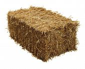 stock photo of haystack  - Bale of hay isolated on a white background as an agriculture farm and farming symbol of harvest time with dried grass straw as a bundled tied haystack - JPG