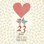 foto of pigeon  - Stylish wedding invitation in vector - JPG