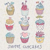 stock photo of cupcakes  - Sweet cupcakes  - JPG
