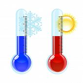 stock photo of thermometer  - Thermometer Hot and Cold icon - JPG