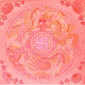 foto of swastika  - Grungy technical drawing or blueprint illustration on red background swastika - JPG