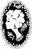 foto of cameos  - Woman silhouette vintage profile  in cameo - JPG