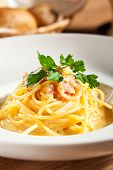 pic of carbonara  - Traditional Carbonara Spaghetti with Meat and Cheese - JPG