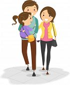 foto of stickman  - Illustration of Stickman Family with the Father Carrying their Daughter while Walking - JPG