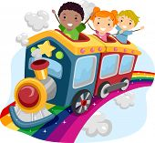 stock photo of playmate  - Illustration of Stickman Kids on Top of a Rainbow Train - JPG