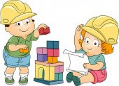 Illustration of Boy and Girl Toddlers Playing Engineers