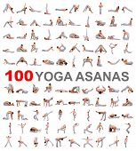 100 yoga poses on white background
