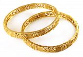image of indian wedding  - Close up of Wedding gold bracelets for Indian bride - JPG