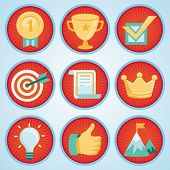 picture of deed  - Vector set with achievement and awards badges for social community - JPG