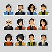 stock photo of avatar  - Simple avatar icons of various business people - JPG
