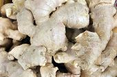 pic of zingiber  - Ginger Root for Sale in Southeast Market Closeup Background - JPG