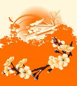 Постер, плакат: Карта с цветок Сакура и японские дома