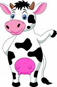 picture of moo-cow  - Vector illustration of Cute cow cartoon waving hand - JPG