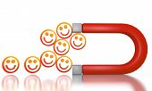 Illustration of a happy smile icon attracted by an magnet