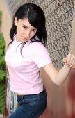Beautiful Female Posing Outdoors poster