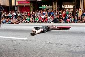 Medieval Fighter Plays Dead On Street In Dragon Con Parade