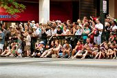 Spectators Line Street In Atlanta To Watch Dragon Con Parade