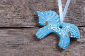 Christmas cookies: blue horse