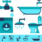 pic of plunger  - Plumbing equipment icons in flat design style - JPG