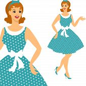 stock photo of 1950s style  - Beautiful pin up girl 1950s style - JPG