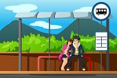 foto of bus-shelter  - A vector illustration of man and woman waiting at bus stop - JPG