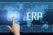 foto of enterprise  - Enterprise Resource Planning concept with interface and world map on blue background - JPG