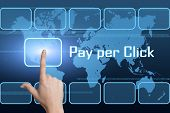 image of payment methods  - Pay per Click concept with interface and world map on blue background - JPG