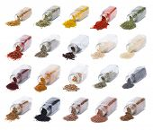 pic of flaxseeds  - Herbs and spices spilling from spice jars isolated on white background - JPG