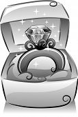 foto of grayscale  - Black and White Illustration of a Sparkling Diamond Ring Resting on a Box - JPG