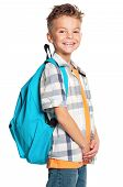 stock photo of schoolboys  - Portrait of a schoolboy with backpack - JPG