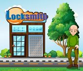 stock photo of locksmith  - Illustration of an old man standing in front of the locksmith building - JPG