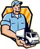 foto of hand truck  - Illustration of a removal man delivery guy with moving truck van on the palm of his hand handing it over to you set inside shield circle done in retro style - JPG