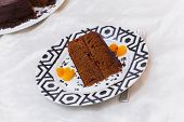 stock photo of torte  - A piece of Sacher torte on a plate - JPG