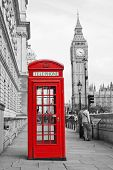 image of phone-booth  - Red Telephone Booth and Big Ben in London street - JPG