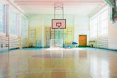 picture of court room  - Empty sport complex hall in Russian school - JPG
