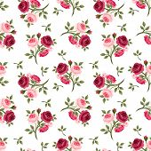 stock photo of bud  - Vector seamless pattern with red and pink English roses - JPG