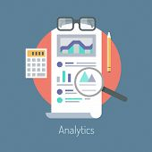 stock photo of measurement  - Flat design vector illustration concept of poster on analytics research information and website data statistics - JPG