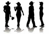 image of sixgun  - Vector drawing women and men in suits cowboys - JPG