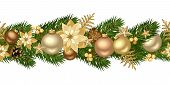 stock photo of pine cone  - Vector Christmas horizontal seamless background with golden balls - JPG