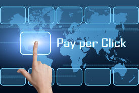 pic of payment methods  - Pay per Click concept with interface and world map on blue background - JPG