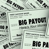picture of payday  - Big Payout Words Checks Money Earnings Salary Winnings - JPG