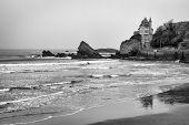 picture of atlantic ocean beach  - Rocky black and white coastal seascape in Biarritz France on the Atlantic ocean - JPG