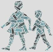 stock photo of labourers  - Word cloud related to World Day Against Child Labour - JPG