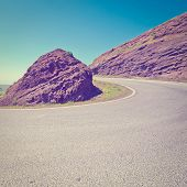 stock photo of golan-heights  - Asphalt Road in the Golan Heights Photo Filter - JPG